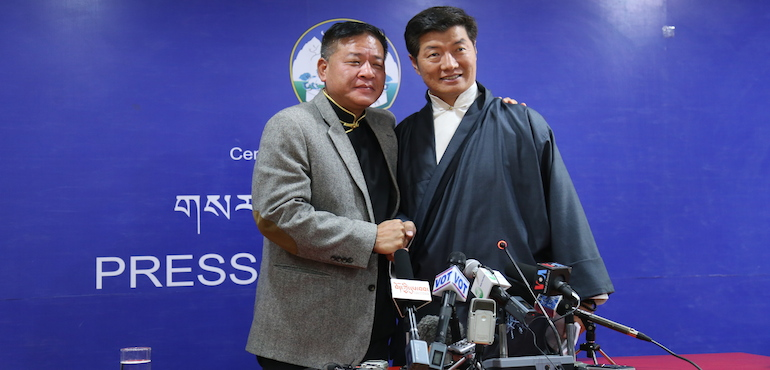 Penpa Tsering and Lobsang Sangay the two top leaders of the Central Tibetan Administration addressed a joint press conference on Apr 7. (Photo courtesy: tibet.net)