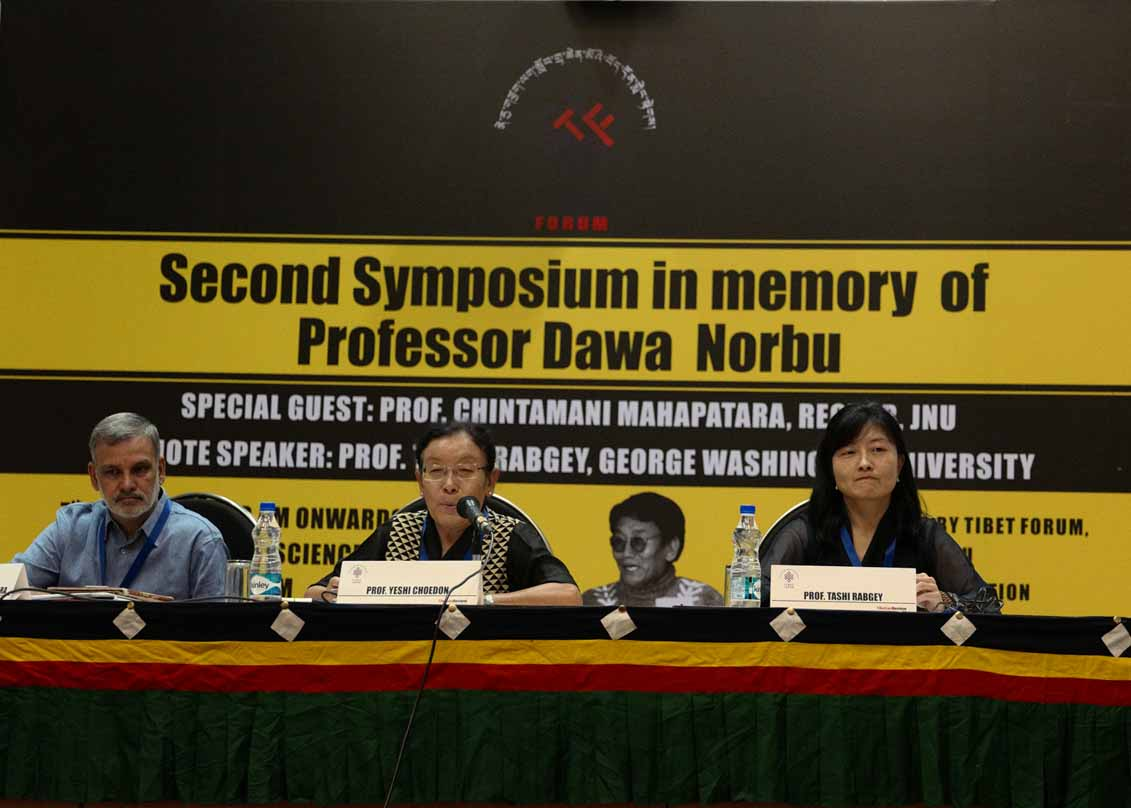 From Left: Prof. Chintamani Mahapatara, Prof. Yeshi Choedon and Prof. Tashi Rabgey at the opening of the Second Symposium in memory of late Prof. Dawa Norbu at Jawaharlal Nehru University (JNU), New Delhi, on Apr 7 organised by JNU Tibet Forum. (Photo courtesy: JNU Tibet Forum)