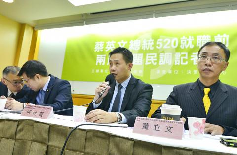 Taiwan Cross-Strait Policy Association member Chang Shih-hsien speaks during a news conference announcing the results of the organization's new poll in Taipei. (Photo courtesy: Wang Yi-sung, Taipei Times)
