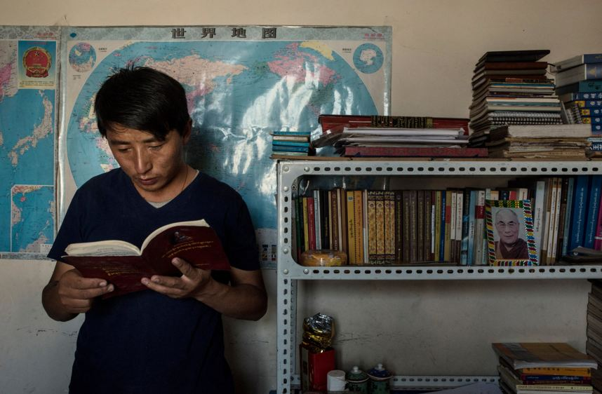Tashi Wangchuk, a Tibetan entrepreneur and education advocate, at his home in Yushu, China, in July. Mr. Tashi was detained in January and held in secret until his family was notified this month. (Photo courtesy: Gilles Sabrie/The New York Times)