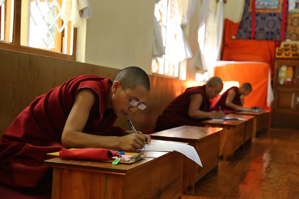 The first batch of candidates for the Tibetan Buddhist degree of Geshema – the equivalent of the male Geshe degree – have begun appearing for their final, fourth year examination at the Geden Choling Nunnery at Dharamshala, India, on May 1. (Photo courtesy: tibet.net)