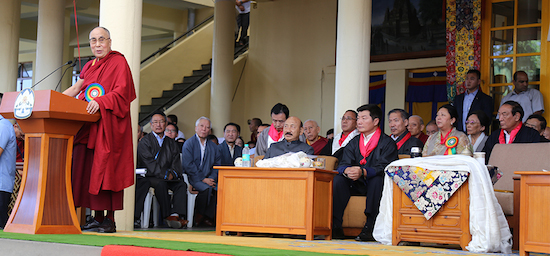 His Holiness the Dalai Lama addressing the swearing-in ceremony of Sikyong Dr Lobsang Sangay, 27 May 2016. (Photo courtesy: Tibet.net)