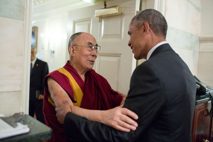 President Barack Obama greets His Holiness the Dalai Lama at the entrance of the Map Room of the White House on June 15, 2016. Official White House Photo by Pete Souza.