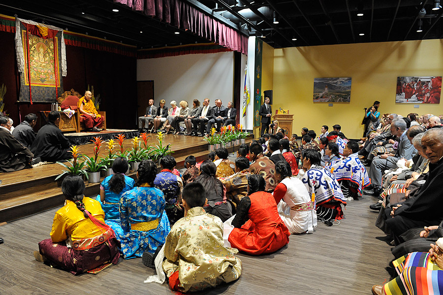 Members of the Tibetan community listening during His Holiness the Dalai Lama's talk at the Utah Tibetan Community Hall in Salt Lake City, Utah, USA on June 22, 2016. (Photo courtesy/Thom Gourley)