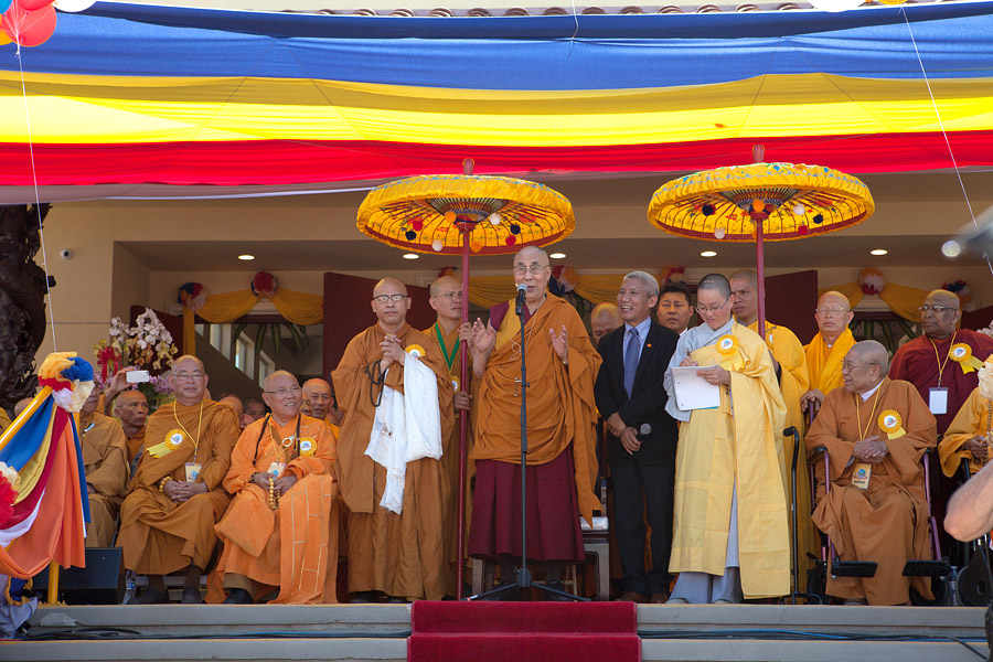 His Holiness the Dalai Lama speaking at the Opening Ceremony of the Vietnamese Dieu Ngu Buddhist Temple in Westminster, California on June 19, 2016. (Photo courtesy: Barbara Doux)