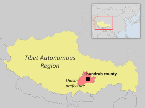 Map showing location of Lhundrub county in the Tibet Autonomous Region. (Courtesy: RFA)