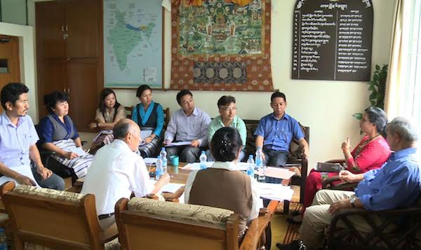 The Scholarship Committee of Department of Education discussing selection of candidates for various professional and general courses at Under-graduate level, Diploma and Vocational courses for 2016 academic session with supervisor Dr Reenu Pant, Education Officer at new Delhi-based Central Tibetan Schools Administration, 23 June 2016. (Photo courtesy: Tibet.net)