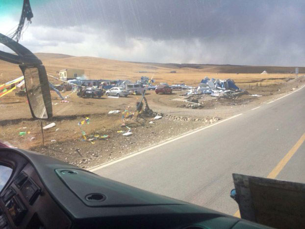 Tibetan homes are shown destroyed along a highway in Chabcha county Qinghai, in an undated file photo. (Photo courtesy: RFA)