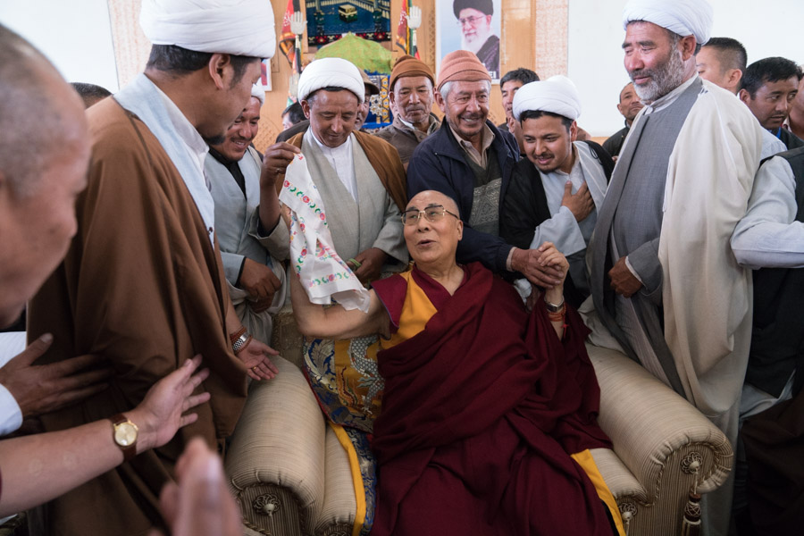 His Holiness the Dalai Lama's pilgrimage to the Jokhang and Sunni and Shia Mosques in Leh, Ladakh, J&K, India on July 27, 2016. (Photo courtesy: T Chonjor/OHHDL)