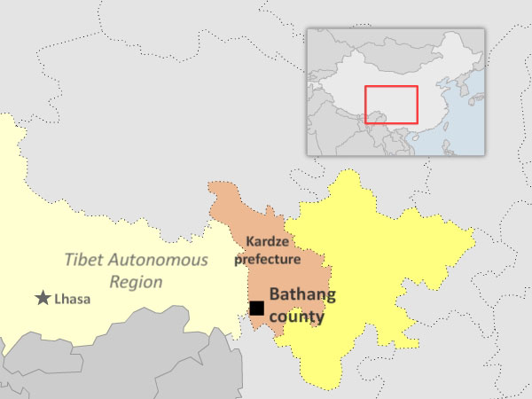 Map showing Bathang county in Sichuan's Kardze Tibetan Autonomous Prefecture. (Courtesy: RFA)