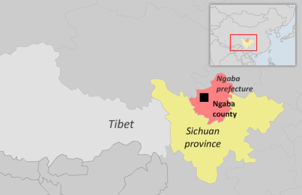 Map showing Ngaba county in Sichuan province. (Courtesy: RFA)