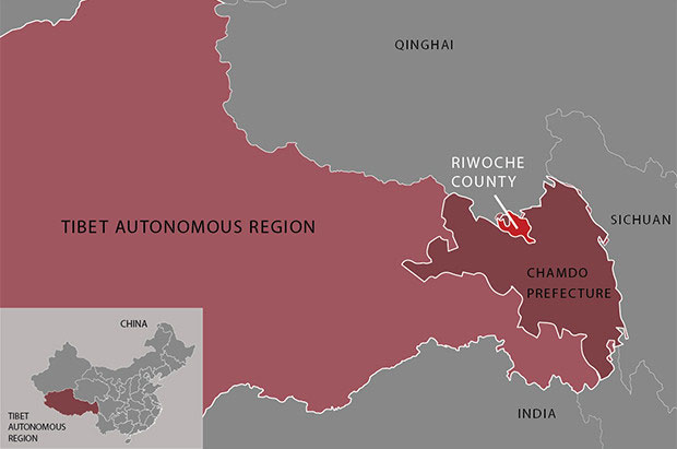 Map showing the location of Riwoche county in the Tibet Autonomous Region. (Map courtesy: RFA)