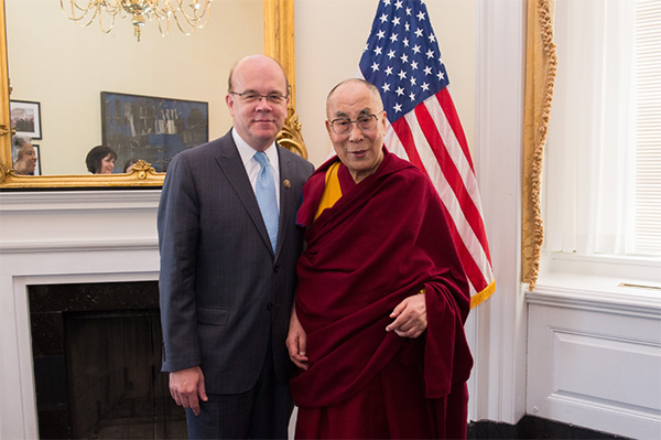 Congressman Jim McGovern (D-MA) with the Dalai Lama. (Photo courtesy: mcgovern.house.gov)
