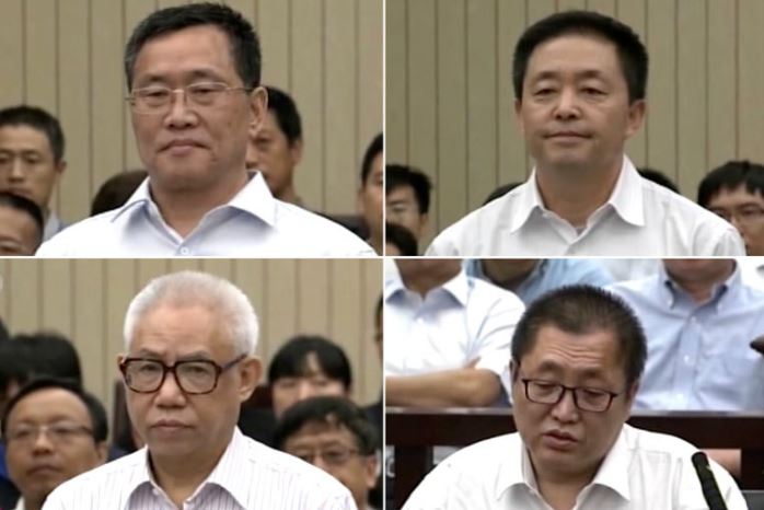 Clockwise from top left: Zhou Shifeng, Gou Hongguo, Zhai Yanmin and Hu Shigen during their trials in Tianjin, China. (Photo courtesy:  CCTV, via Associated Press)