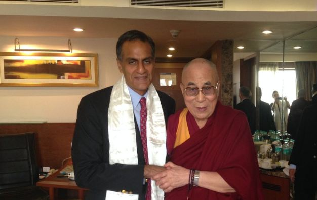 His Holiness the Dalai Lama with the US Ambassador Mr Richard Verma. (Photo courtesy: twitter of Richard Verma)