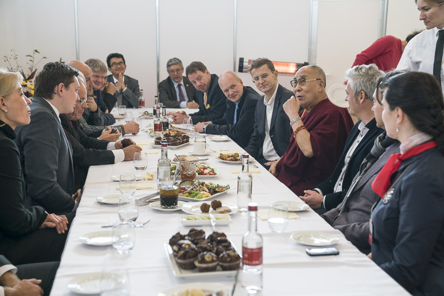 His Holiness meeting with members of Parliament from the Baltic States during the lunch break on the first day of his two day teaching in Riga, Latvia on October 10, 2016. (Photo courtesy/Tenzin Choejor/OHHDL)