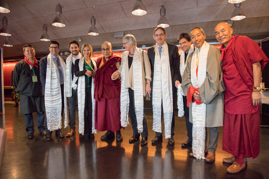 His Holiness the Dalai Lama with members of the Swiss Parliamentarian Group for Tibet during the lunch break in his teachings in Zurich, Switzerland on October 14, 2016. (Photo courtesy/Manuel Bauer)