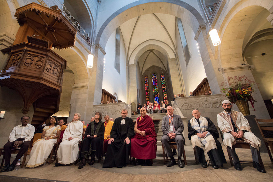 His Holiness the Dalai Lama with fellow interfaith prayer meeting participants at Grossmuenster Church in Zurich Switzerland on October 15, 2016. (Photo courtesy/Manuel Bauer)