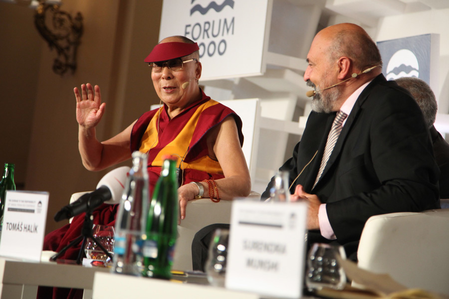 His Holiness the Dalai Lama answering questions from the audience during the Forum 2000 closing panel in Prague, Czech Republic on October 18, 2016. (Photo courtesy/Ondrej Besperat)