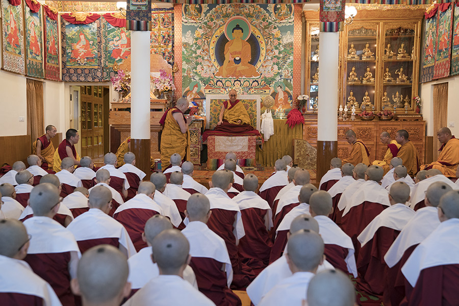 His Holiness the Dalai Lama during ordination ceremonies at His Holiness the Dalai Lama's residence in Dharamsala, HP, India on September 29, 2016. (Photo courtesy/Tenzin Choejor/OHHDL)