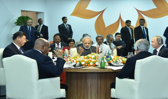 Indian Prime Minister Narendra Modi speaking during the BRICS summit in Goa. (Photo courtesy: s3.india.com/)
