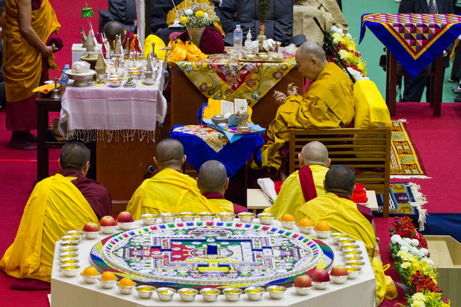 His Holiness the Dalai Lama performing preparatory rituals for the Permission of Wish-fulfilling Green Tara at Seifu High School in Osaka, Japan on November 13, 2016. Photo/Jigme Choephel