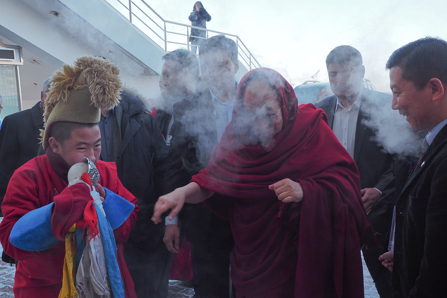 His Holiness the Dalai Lama leaving his guest house on a record breaking cold morning in Ulaanbaatar, Mongolia on November 20, 2016. Photo/Tenzin Taklha/OHHDL