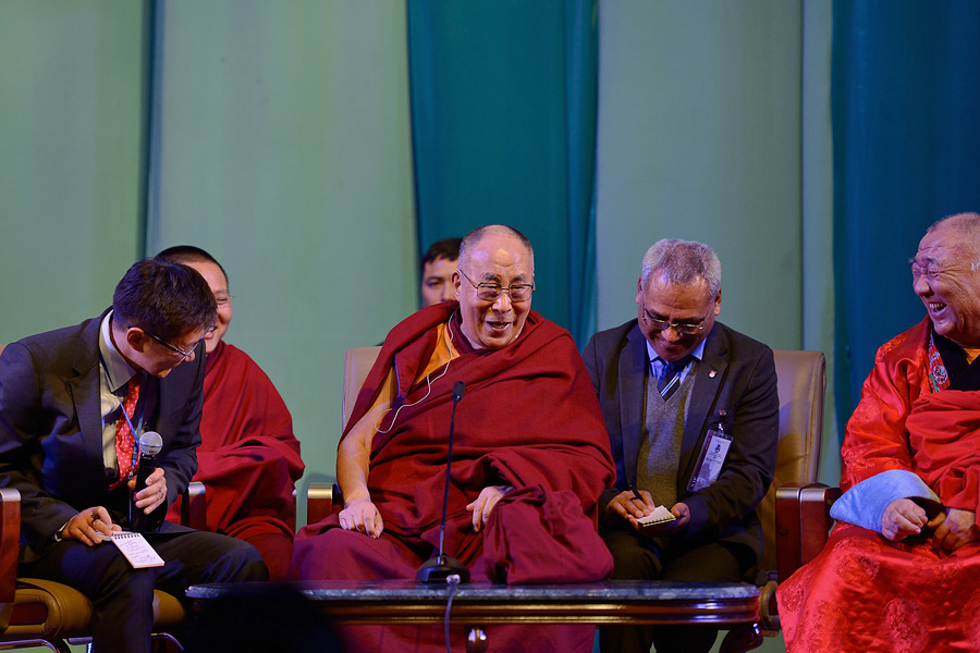 His Holiness the Dalai Lama enjoying a moment of laughter as he answers questions from the audience during his talk at Culture House in Ulaanbaatar, Mongolia on November 22, 2016. Photo/Tenzing Paljor