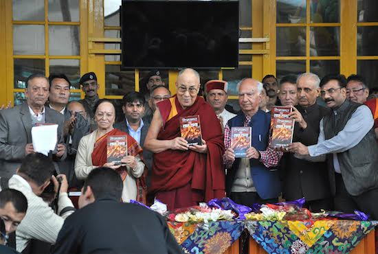 His Holiness the Dalai Lama inaugurates revised edition of Red Shadow over the Himalayas, a historic account of relations between India, Tibet and China, written by Shri Shanta Kumar. (Photo courtesy: Tibet.net)