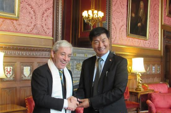 Sikyong Dr Lobsang Sangay with Rt. Hon Speaker of the House of Commons, John Bercow at the Parliament House, London, 1 November 2016. (Photo courtesy: tibet.net)