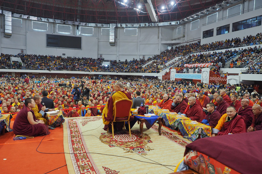 A view from the stage during the afternoon session of His Holiness the Dalai Lama's teaching at the Buyant Uhaa Sports Complex in Ulaanbaatar, Mongolia on November 20, 2016. Photo/Tenzin Taklha/OHHDL