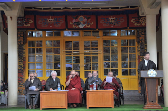 Sikyong Dr Lobsang Sangay, Speaker Khenpo Sonam Tenphel and other dignitaries at the official function to celebrate 27th anniversary of Nobel Peace Prize day. (Photo courtesy: tibet.net)