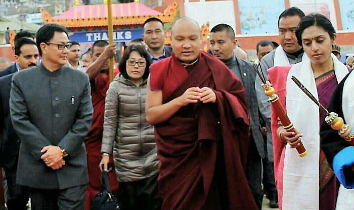 The 17th Karmapa Urgyen Trinley Dorje during his visit to Arunachal, he was accompanied by India's Minister of State for Home Affairs Mr Kiren Rijiju. (Photo courtesy: s3.india.com)