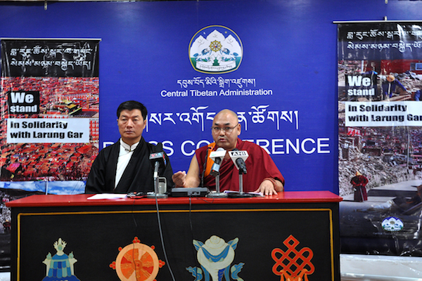 Sikyong Dr Lobsang Sangay and Speaker Khenpo Sonam Tenphel of Tibetan Parliament-in-Exile addressing the press conference today at DIIR Lhakpa Tsering hall, 5 December 2016. (Photo courtesy: Tibet.net)