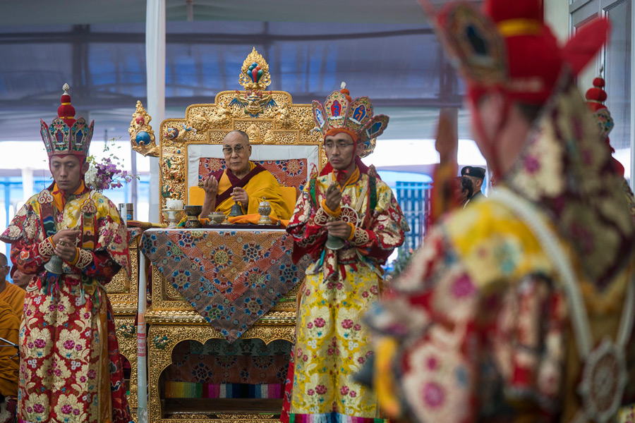 Monks from Namgyal Monastery performing the Kalachakra Ritual Offering Dance at the Kalachakra teaching ground in Bodhgaya, Bihar, India on January 9, 2017. (Photo courtesy/Tenzin Choejor/OHHDL)