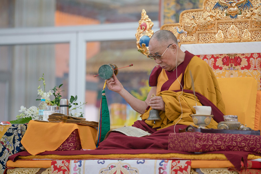 His Holiness during the first day of the Kalachakra Empowerment, Entry into the Mandala, in Bodhgaya, Bihar, India on January 11, 2017. (Photo courtesy/Tenzin Choejor/OHHDL)