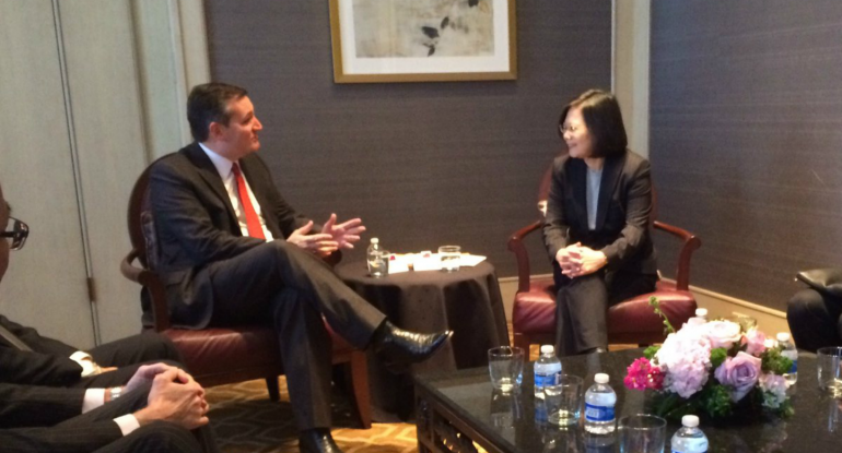 Ted Cruz Snubs China, Meets with Taiwan President Tsai Ing-wen.