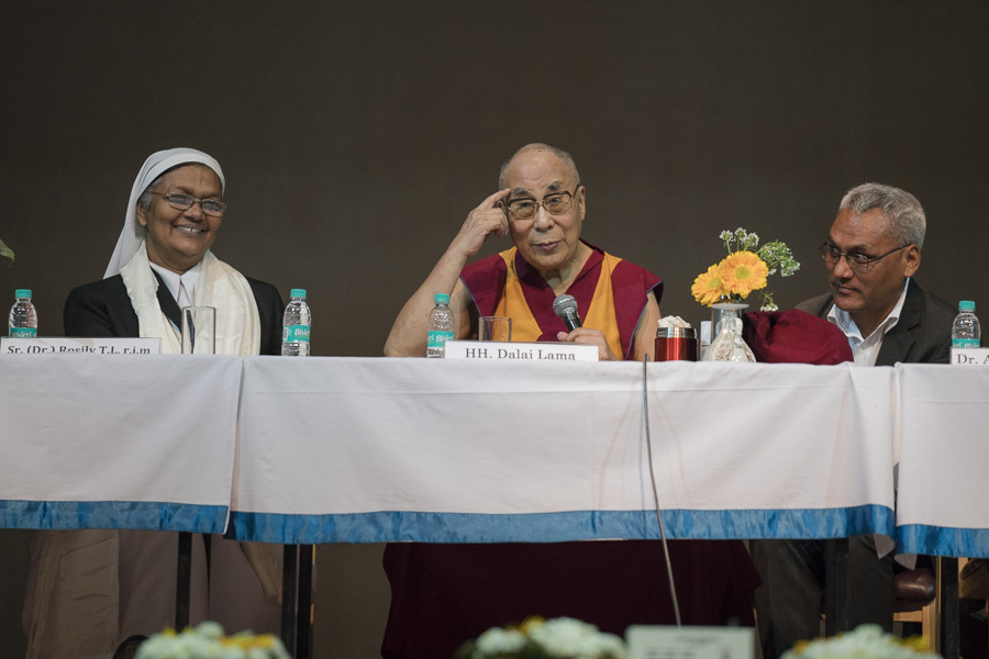 His Holiness the Dalai Lama answering questions from students during his talk at Jesus & Mary College in New Delhi, India on February 7, 2017. (Photo courtesy/Tenzin Choejor/OHHDL)