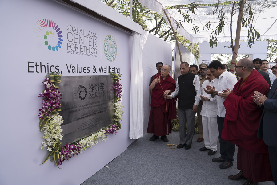 Governor of Telangana State Mr. Ekkadu Srinivasan Lakshmi Narasimhan and His Holiness the Dalai Lama unveiling the foundation stone for the South Asia Hub of The Dalai Lama Center for Ethics in Hyderabad, Telangana, India on February 12, 2017. (Photo courtesy/ Tenzin Choejor/OHHDL)