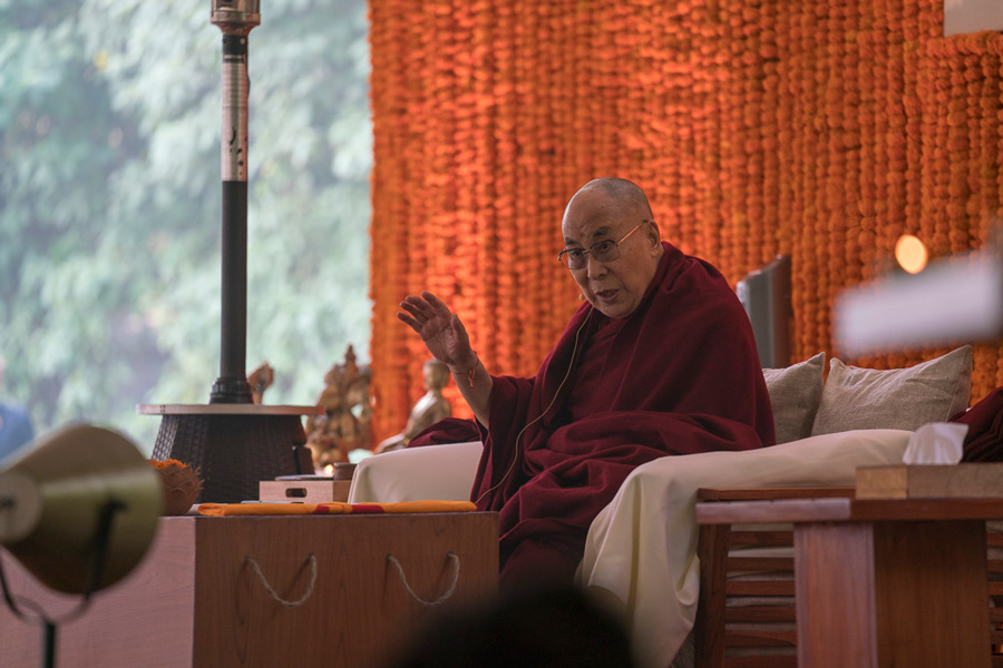 His Holiness the Dalai Lama speaking at the inaugural Vidyaloke teachings in New Delhi, India on February 3, 2017. (Photo courtesy/Tenzin Choejor/OHHDL)