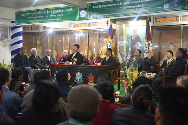 Sikyong Dr Lobsang Sangay addressing the first CTA organised 'Tibetan Women's Empowerment Conference' held at Mentsee Khang on 21 February 2017. (Photo courtesy: tibet.net)