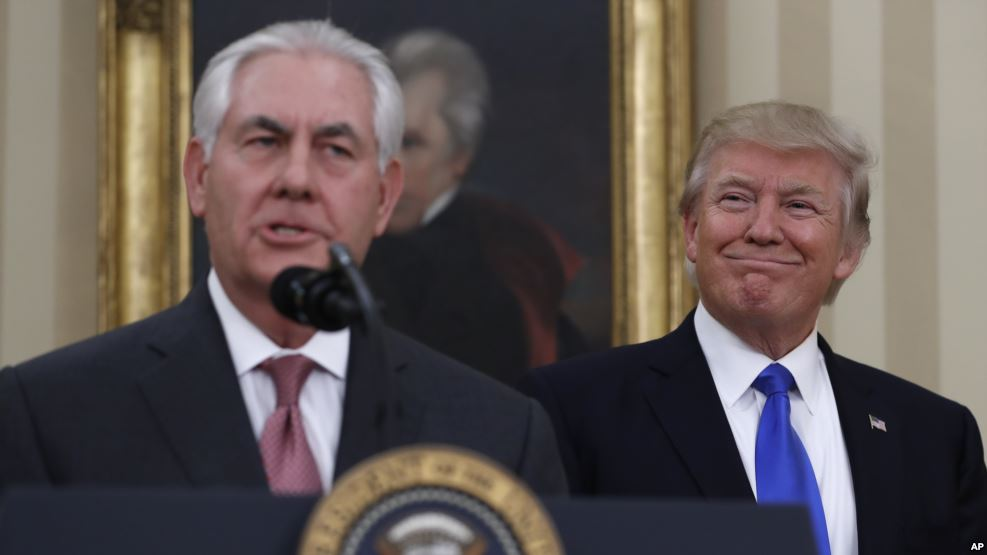 Secretary of State Mr Rex Tillerson with US President Donald Trump. (Photo courtesy: AP)