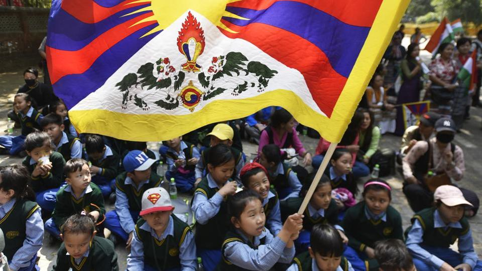 Tibetan children during the 58th anniversary of Tibetan National Uprising day on 10 March. (Photo courtesy: Ravi Choudhary/HT)