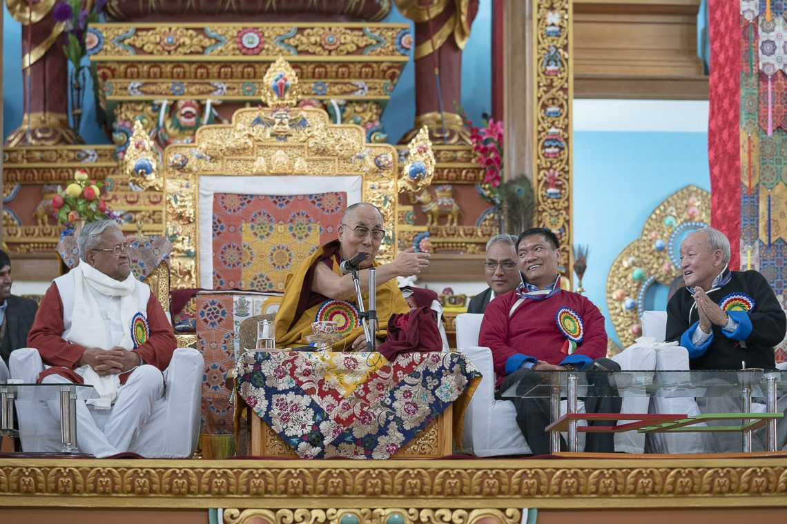 The Dalai Lama at Dirang monastery in Arunachal Pradesh on Thursday. Governor PB Acharya (L) and CM Pema Khandu are also seen. (Photo courtesy: Tenzin Choejor/OHHDL)