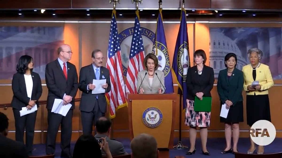 Leader Nancy Pelosi, Congressional Delegation Hold Press Conference on Visit to Tibetan Communities in India and Nepal. (Photo courtesy: RFA)