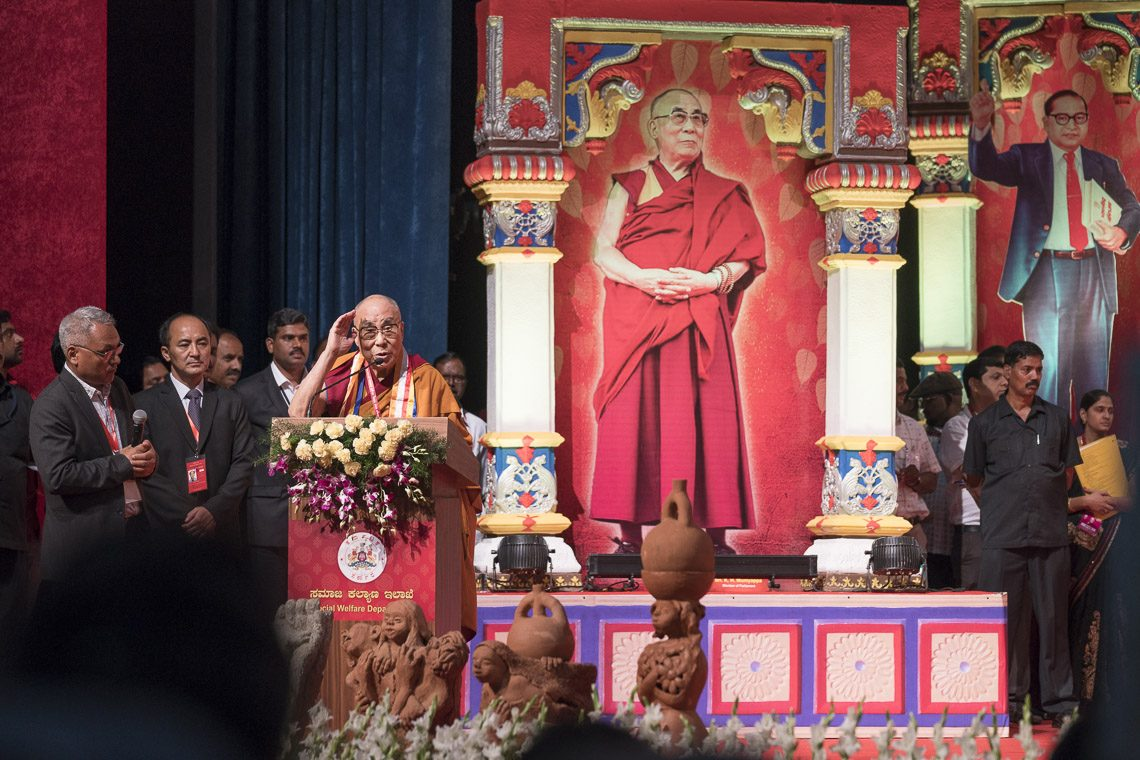 "Tibet's exiled spiritual leader, the Dalai Lama, described himself as a messenger of ancient Indian values and knowledge during a speech May 23 at a seminar on 'Social Justice and Dr BR Ambedkar"" in Bengaluru, Karnataka state. (Photo courtesy:  T. Choejor/OHHDL)"