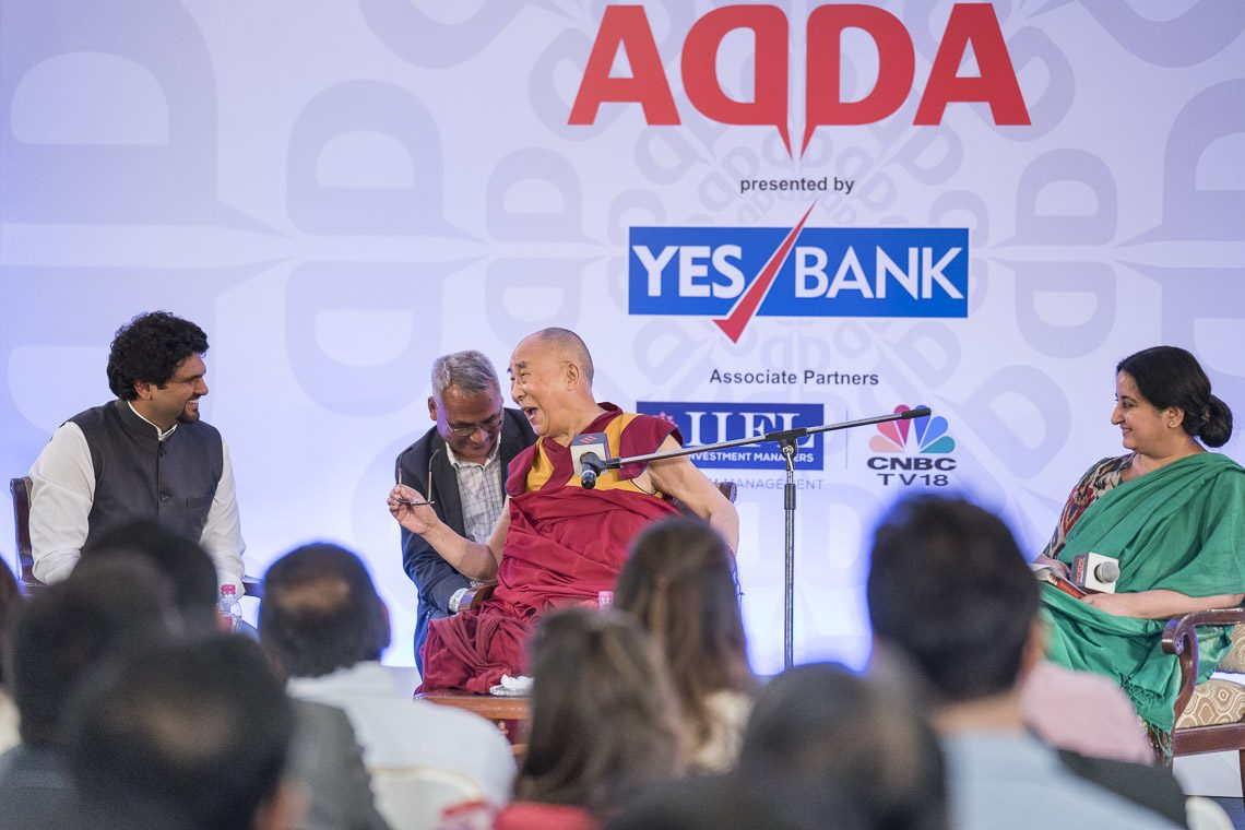 His Holiness the Dalai Lama in conversation with Anant Goenka during the Express Adda in New Delhi. (Photo courtesy: T. Choejor/OHHDL)
