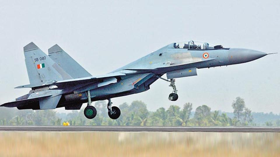 An Indian Air Force Su-30 fighter plane is missing after it lost radio contact 60km near Assam's Tezpur.(Photo courtesy: AFP)