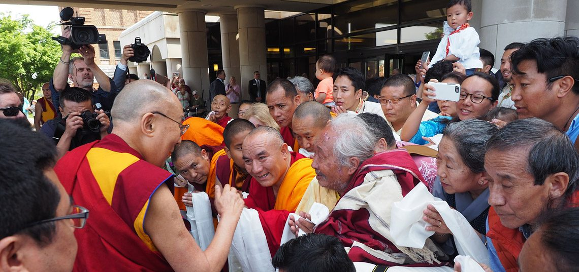 His Holiness the Dalai Lama greeting members of the local Tibetan community on his arrival at the Mayo Clinic in Rochester, MN, USA on June 13, 2017. (Photo courtesy: OHHDL)