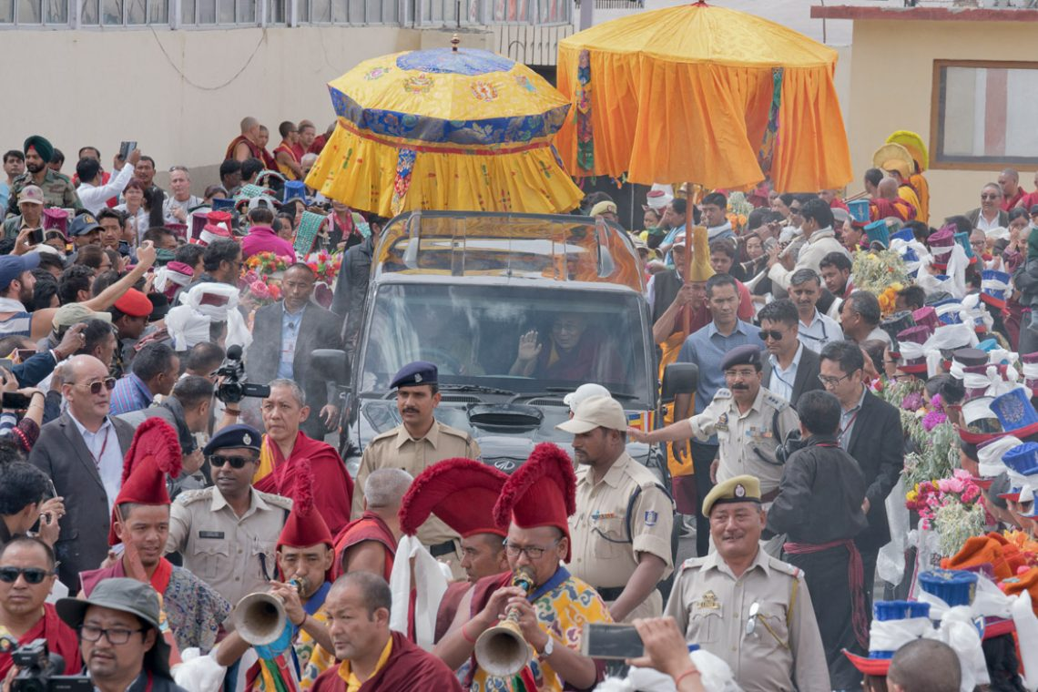 His Holiness the Dalai Lama's motorcade leaving the Leh airport on its way to his residence at Shiwatsel in Leh, Ladakh, J&K, India on June 28, 2017. (Photo courtesy: OHHDL)